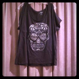 Cold shoulder sugar skull t-shirt